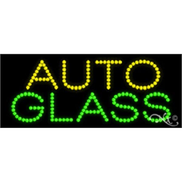 "Auto Glass LED Sign - Auto Glass LED sign, 11"" x 27"" x 1""."
