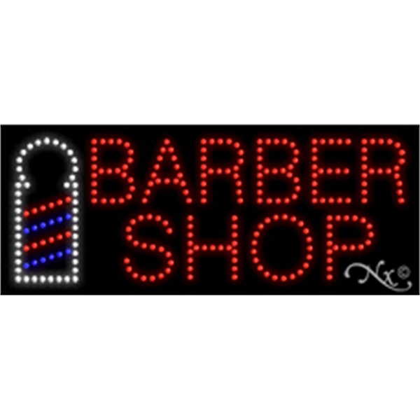 "Barber Shop LED Sign - Barber Shop LED sign, 11"" x 27"" x 1""."