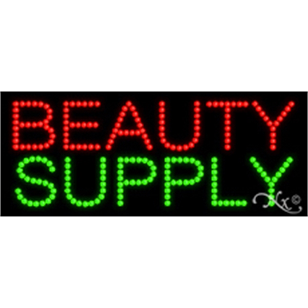 "Beauty Supply LED Sign - Beauty Supply LED sign, 11"" x 27"" x 1""."