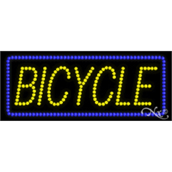 "Bicycle LED Sign - Bicycle LED sign, 11"" x 27"" x 1""."