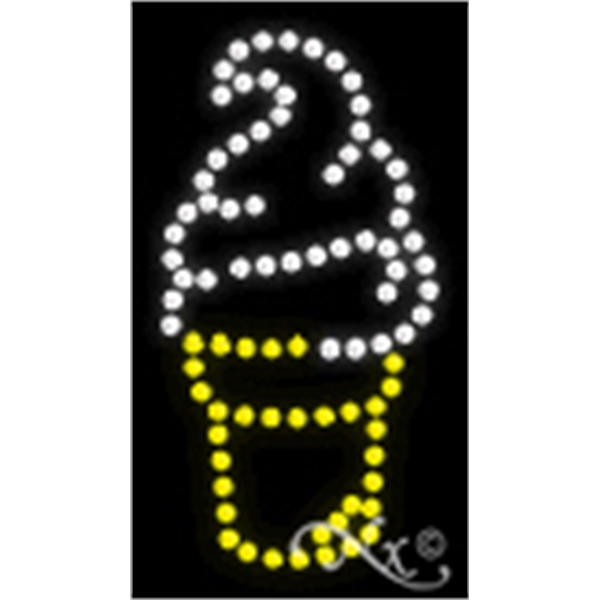 "Ice Cream Logo LED Sign - Ice cream logo LED sign, 16"" x 11"" x 1""."