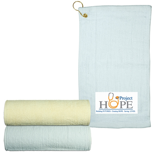 Logotec - Natural And White - Hand Towel With Grommet Photo
