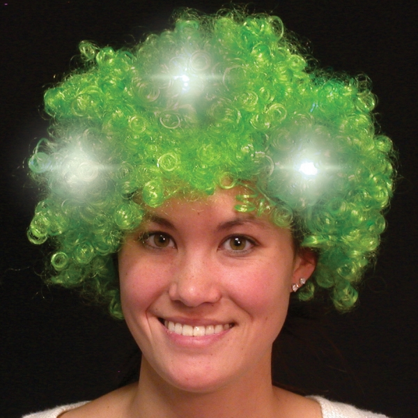 Green Light Up LED Spirit Costume Wig