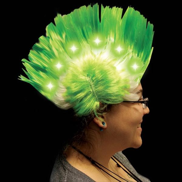 Green Light Up LED Mohawk Costume Wig