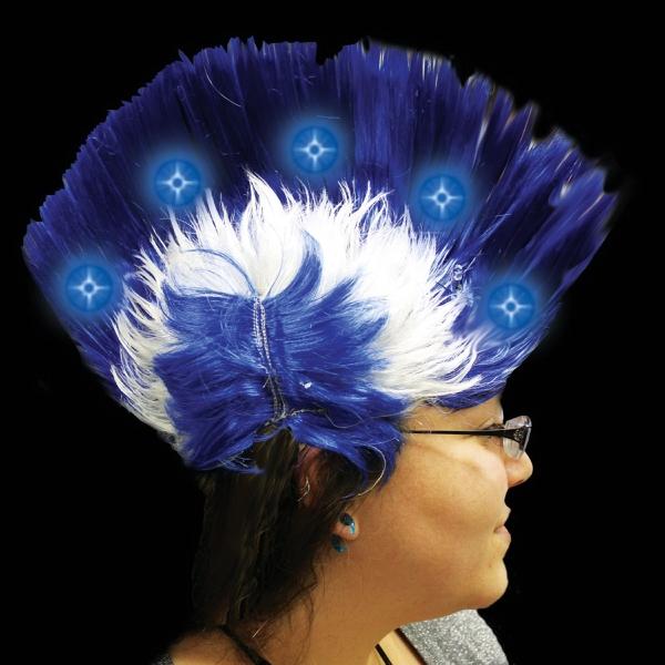 Blue Light Up LED Mohawk Costume Wig
