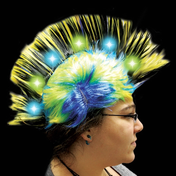 Yellow Light Up LED Mohawk Costume Wig