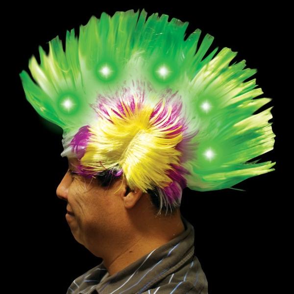 Multi Color Light Up LED Mohawk Costume Wig