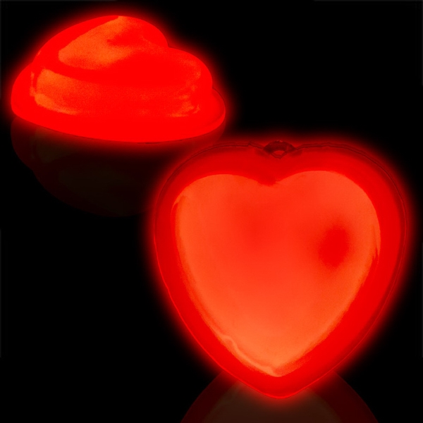"3"" Self-Adhering Heart Shaped Light Up Glow Badge"