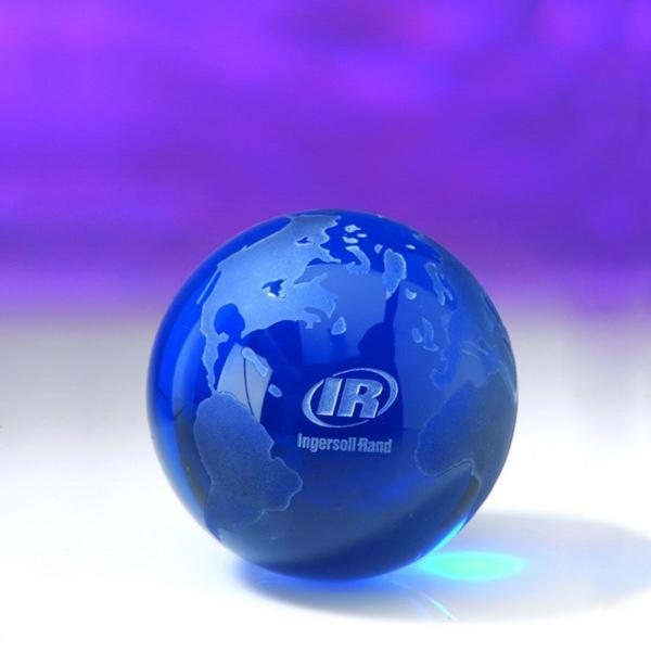 """Award-Blue Globe  (Flat Bottom) 2-3/8"""""""