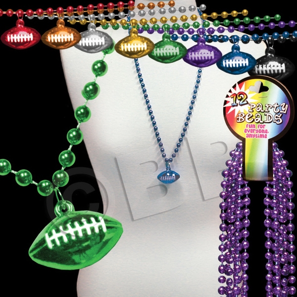 Beaded Mardi Gras Beads Necklace With Football Pendant, Blank Photo