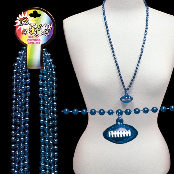 Blue Beaded Mardi Gras Beads Necklace With Football Pendant, Blank Photo