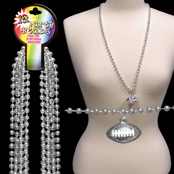Silver Beaded Necklace With Football Pendant, Blank Photo