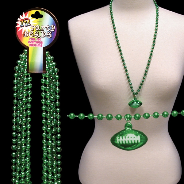Green Beaded Mardi Gras Beads Necklace With Football Pendant, Blank Photo