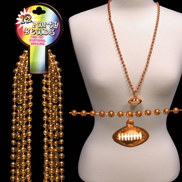 Orange Beaded Mardi Gras Necklace With Football Pendant, Blank Photo