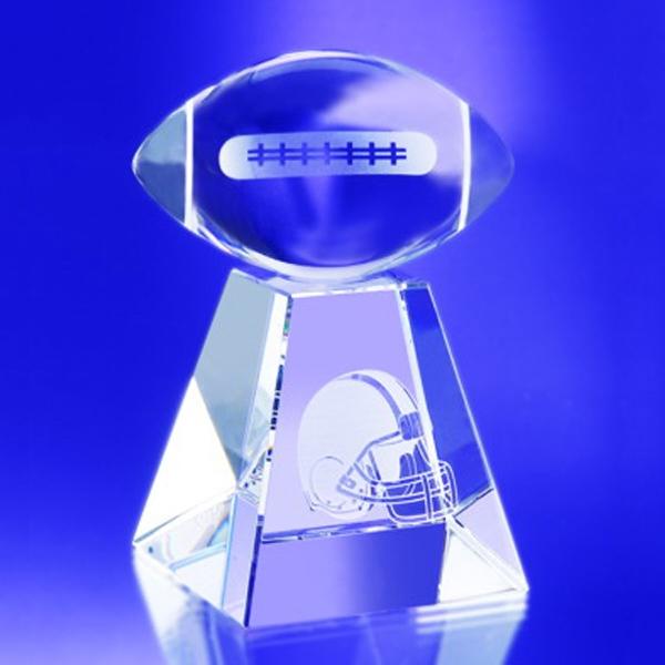 "Award-Clear Football w/ Tall Base 3 3/4"""