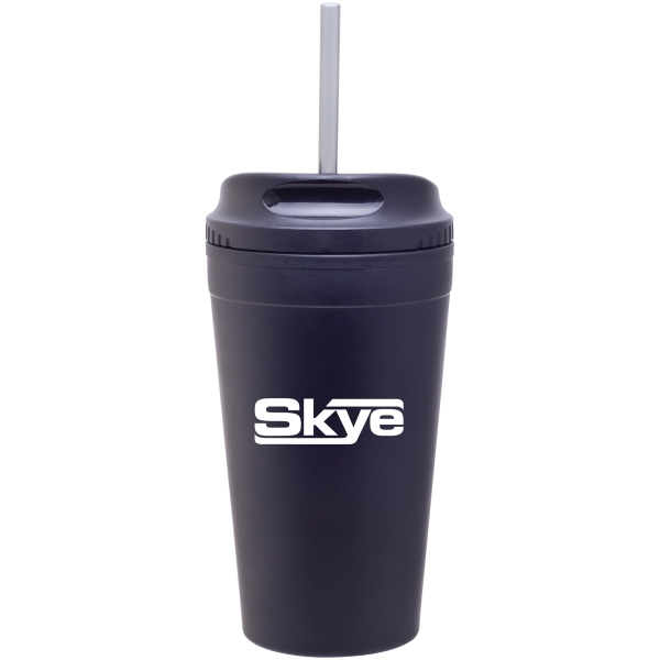 Matte Black - Double Wall Stainless Steel Tumbler With Plastic Liner Photo