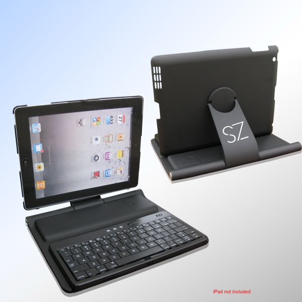 Wireless Bluetooth Keyboard With Leather Case And Stand For Ipad Photo