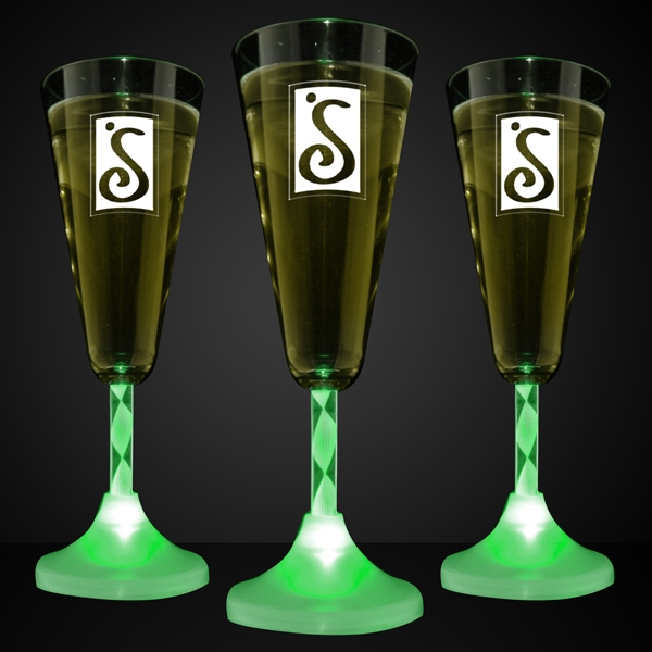 Green Led Imprintable Champagne Glass With Spiral Stem, 60 Day Production Photo