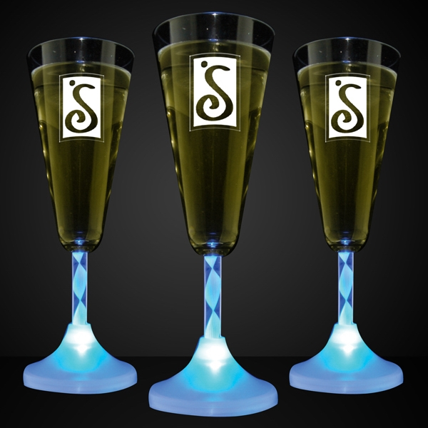 Blue LED Imprintable Champagne Glass with Spiral Stem