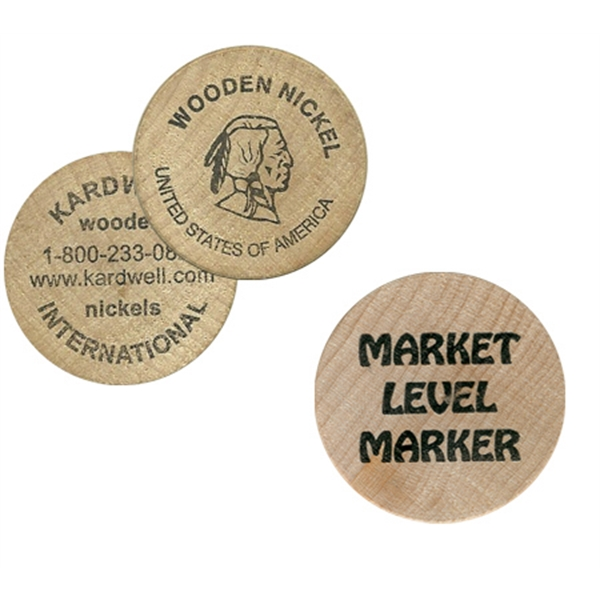 "1.5"" Diameter Imprinted Wooden Game Token Photo"