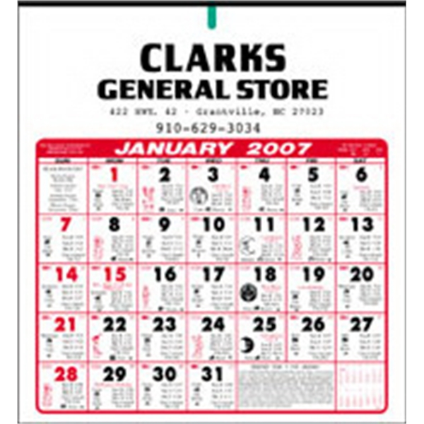 Almanac Calendar With Six Sheets Printed On The Front And Back Photo
