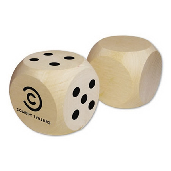 "Extra Large 2.5"" Custom Imprinted Round Corner Wood Dice Photo"
