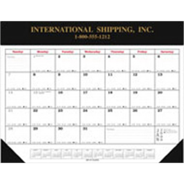 Desk Planner Calendar With Black Vinyl Top And 2 Corners Photo