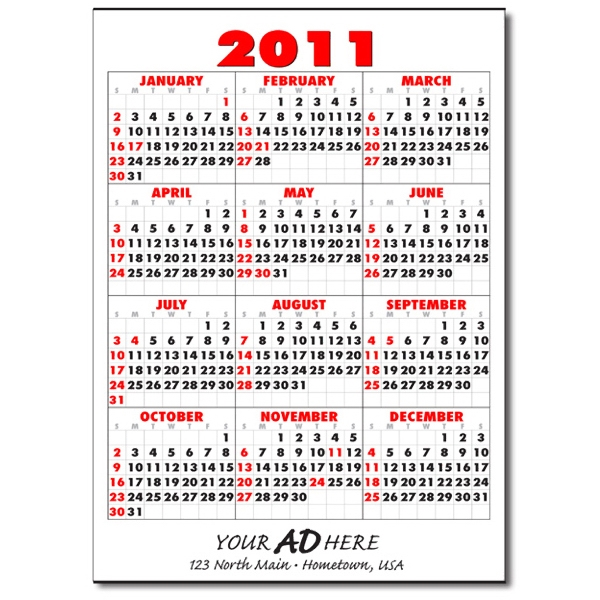 Style 2 - Stock Year On-a-page Commercial Wall Calendar With Red And Black Ink Photo