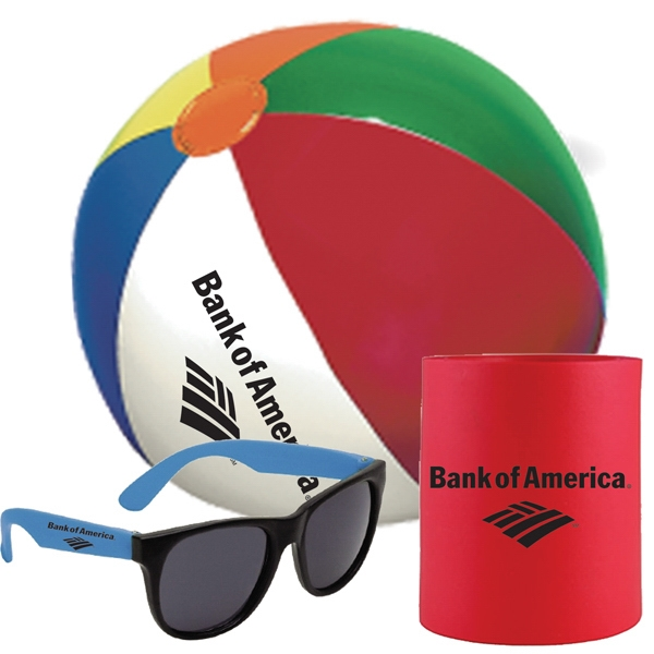 Can Holder, Sunglasses And Beach Ball Set Photo
