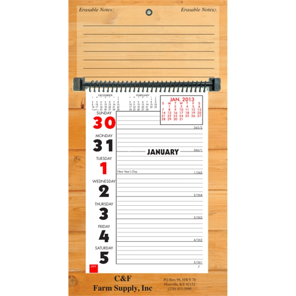 "Weekly Memo Erasable Calendar With Week On A Page. 7"" X 13"" Photo"