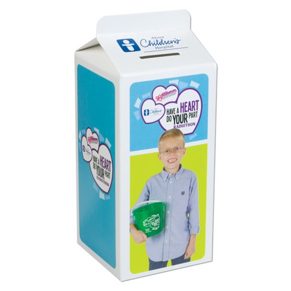 1 Color - Milk Carton Bank With Fold And Tab Assembly Photo