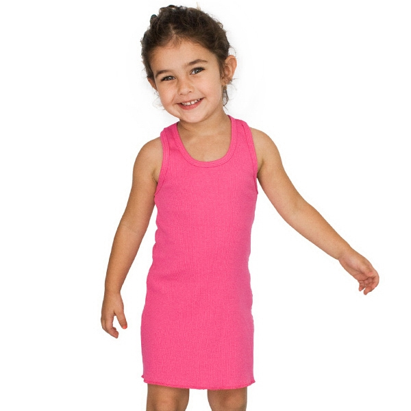 White - Kids Rib Racerback Dress. Blank Photo