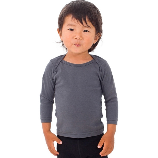 White - Infant Baby Rib Long Sleeve Lap T-shirt. Blank Photo