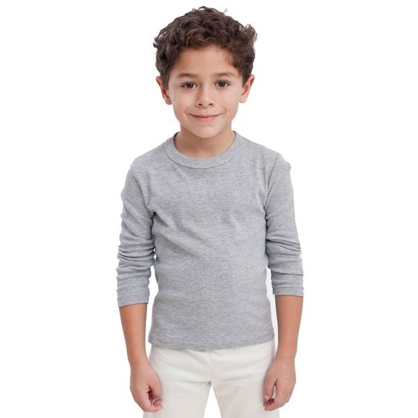 White - Kids Baby Rib Long Sleeve T-shirt. Blank Photo