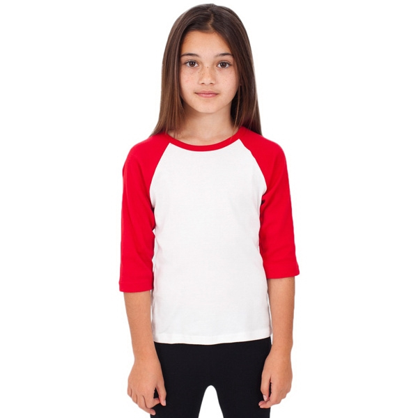 Kids Baby Rib 3/4 Sleeve Raglan. Blank Photo