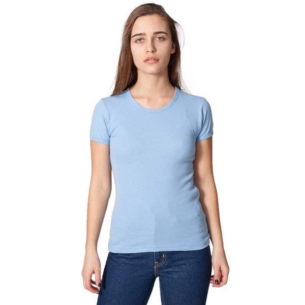 X S-l-colors - Baby Rib Basic Short Sleeve T-shirt With Rib Binding Around The Arm And Neck. Blank Photo