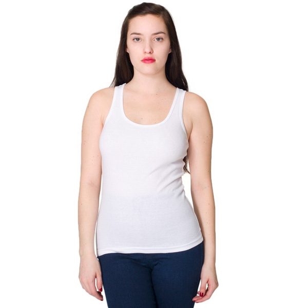 S- X L-white - Ladies' Baby Rib Tank. Blank Photo