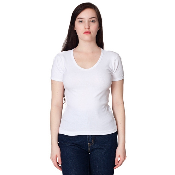 S-m-l- X L - White - Ladies' Baby Rib Short Sleeve V-neck T-shirt. Blank Photo