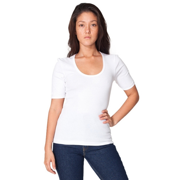X L-white - Ladies Baby Rib 1/2 Sleeve U-neck T-shirt. Blank Photo