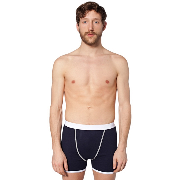 Baby Rib Boxer Brief With White Elastic Waistband And White Contrast Binding. Blank Photo