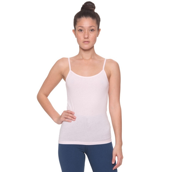 White - Sheer Jersey Spaghetti Tank. Blank Photo