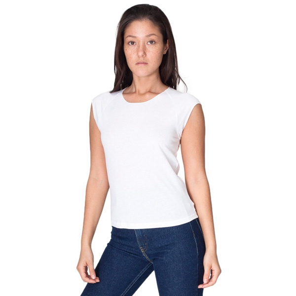 White - Sheer Jersey Cap Sleeve Raglan. Blank Photo