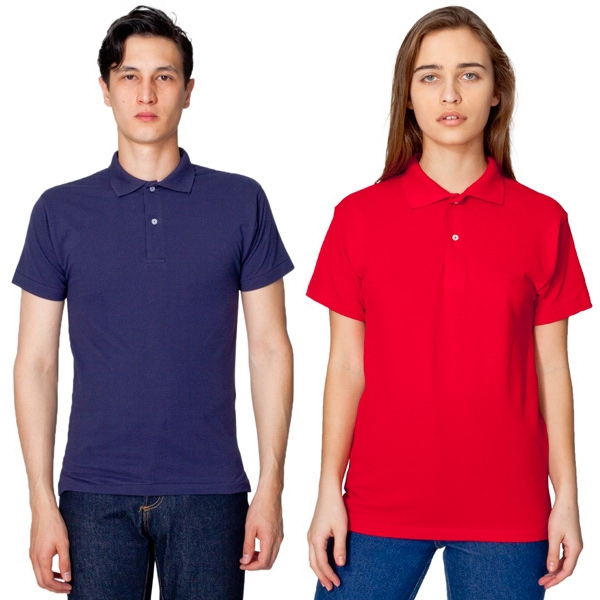 2 X L - Colors - Unisex Cotton Pique Tennis Shirt Featuring 2-button Placket. Blank Photo