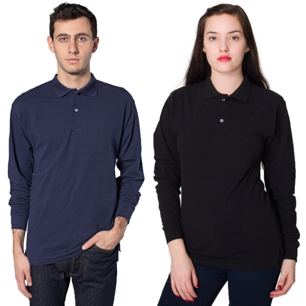 X S- X L - Unisex Pique Long Sleeve Tennis Shirt Featuring 2-button Placket. Blank Photo