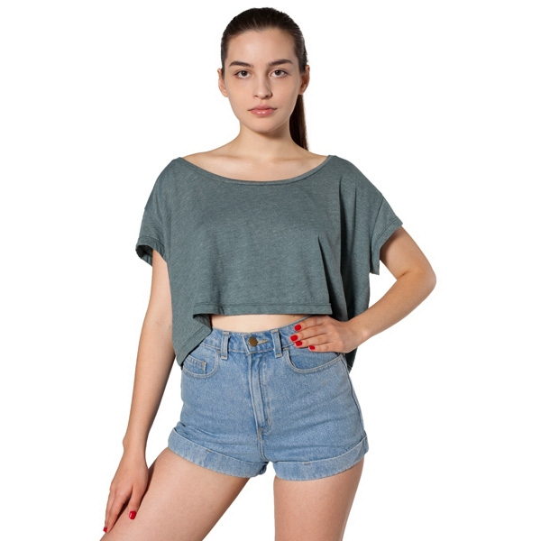Loose Fitting Women's Cropped T-shirt. Blank Photo