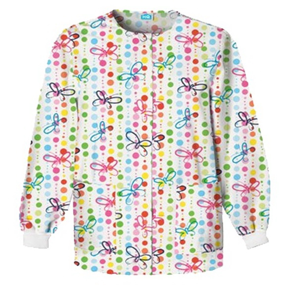 Cherokee - Scrub Hq Warm-up Jacket - Butterfly Dots Photo