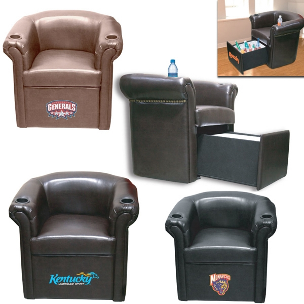 Cooler Chair - Sports char with armrest bottle holders and slide out drawer for drinks and ice