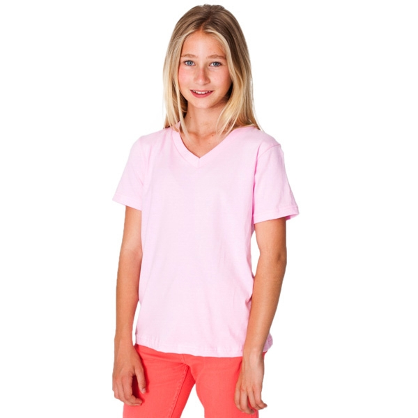 Colors - Youth Fine Jersey 100% Cotton V-neck T-shirt. Blank Photo