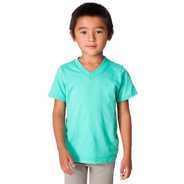 White - Kids Fine Jersey 100 % Cotton V-neck T-shirt. Blank Photo