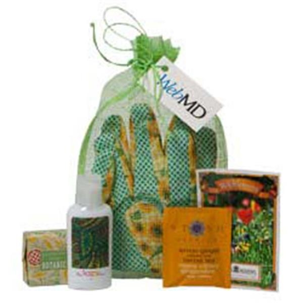 Gardener's Relaxation Set - Tote Holds Gardener's Gloves, Hand Care Cream, Soap, Tea & Wildflower Seed Pack Photo